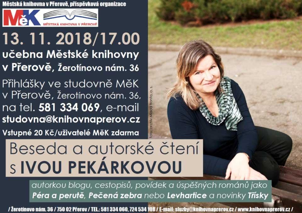 Beseda se spisovatelkou Ivou Pekárkovou