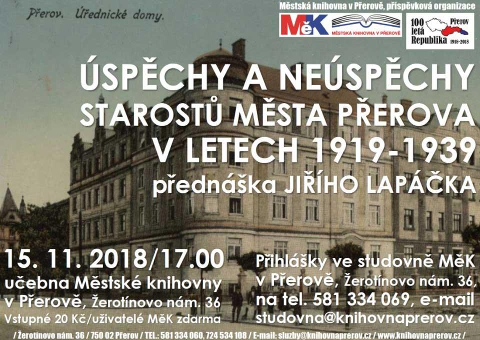 Úspěchy a neúspěchy starostů města Přerova v letech 1919-1939